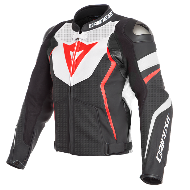 AVRO 4 PERF. LEATHER JACKET BLACK-MATT/WHITE/FLUO-RED- Jackets