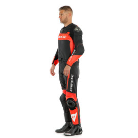 MISTEL 2PCS LEATHER SUIT BLACK-MATT/FLUO-RED/BLACK-MATT- Divisibili