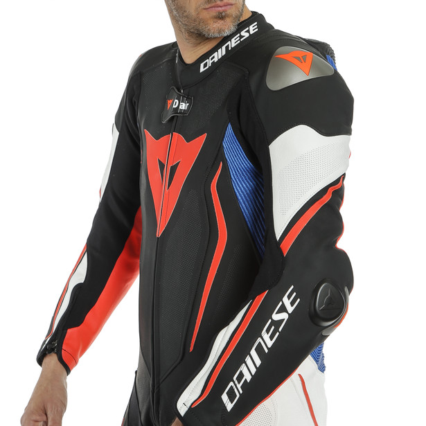 MISANO 2 D-AIR PERF. 1PC SUIT BLACK-MATT/WHITE/LIGHT-BLUE- D-air