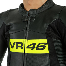 TUTA IN PELLE PERFORATA INTERA VR46 TAVULLIA  BLACK/FLUO-YELLOW- VR46