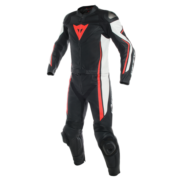 ASSEN 2 PCS SUIT BLACK/WHITE/FLUO-RED- Deux Pieces