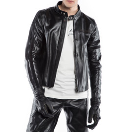 FRECCIA72 LEATHER JACKET BLACK/BLACK- Motorbike