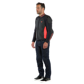 INTREPIDA PERF. LEATHER JACKET BLACK/BLACK-MATT/FLUO-RED- Cuir