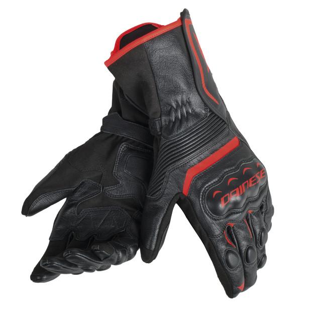 ASSEN GLOVES BLACK/BLACK/RED-FLUO- Leather