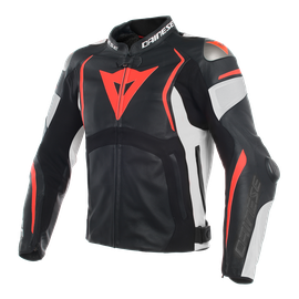 MUGELLO LEATHER JACKET BLACK/WHITE/FLUO-RED- Leather