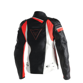 VELOSTER LADY LEATHER JACKET BLACK/WHITE/FLUO-RED- undefined