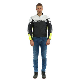 AGILE LEATHER JACKET BLACK-MATT/WHITE/FLUO-YELLOW- Leather