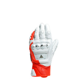 4-STROKE 2 GLOVES WHITE/FLUO-RED- Leder