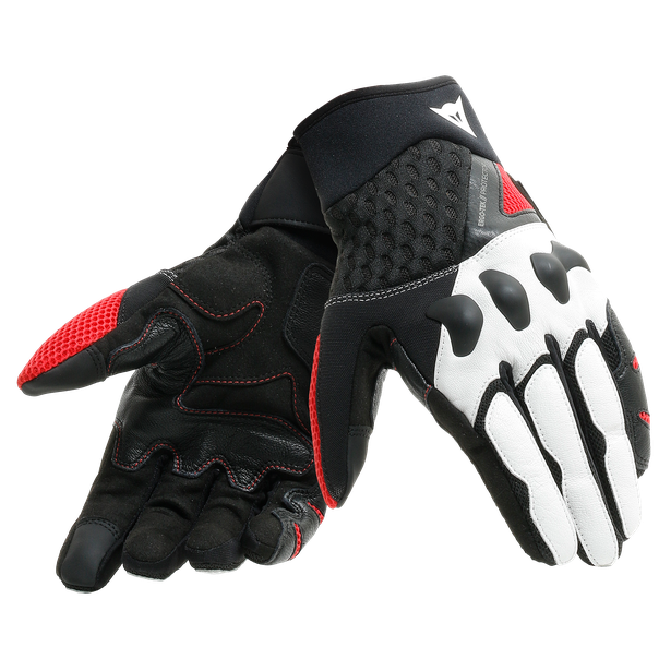 X-MOTO UNISEX GLOVES BLACK/WHITE/LAVA-RED- Leather