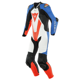 LAGUNA SECA 5 1PC LEATHER SUIT PERF. WHITE/LIGHT-BLUE/BLACK/FLUO-RED