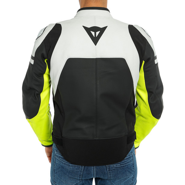 AGILE LEATHER JACKET BLACK-MATT/WHITE/FLUO-YELLOW- Leder