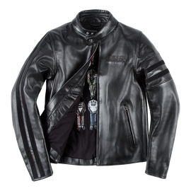 FRECCIA72 LEATHER JACKET BLACK/BLACK- Motorbike