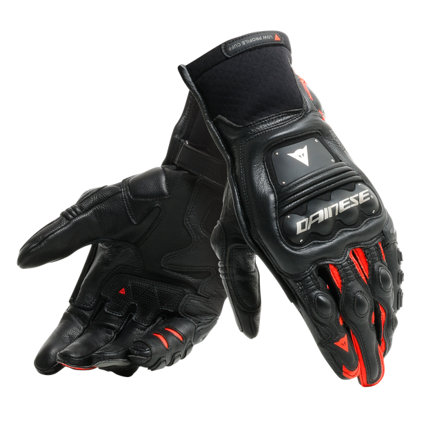 STEEL-PRO IN GLOVES BLACK/FLUO-RED- Leder