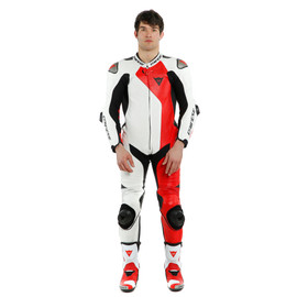 ADRIA 1PC LEATHER SUIT PERF. WHITE/LAVA-RED/BLACK- Lederkombi