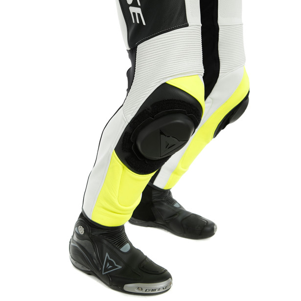 ASSEN 2 1 PC. PERF. LEATHER SUIT BLACK/WHITE/FLUO-YELLOW- Professionali