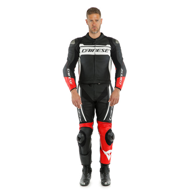 MISTEL 2PCS LEATHER SUIT BLACK-MATT/WHITE/LAVA-RED- Deux Pieces