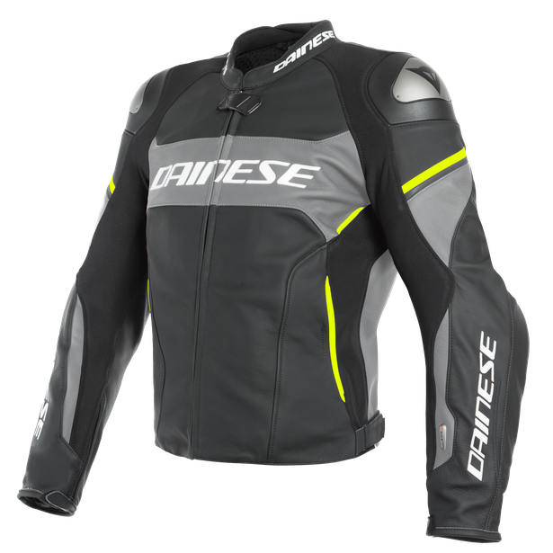 RACING 3 D-AIR LEATHER JACKET BLACK-MATT/CHARCOAL-GRAY/FLUO-YELLOW- D-air