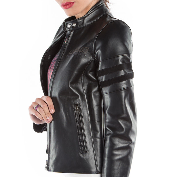 FRECCIA72 LADY LEATHER JACKET BLACK/BLACK- Motorbike