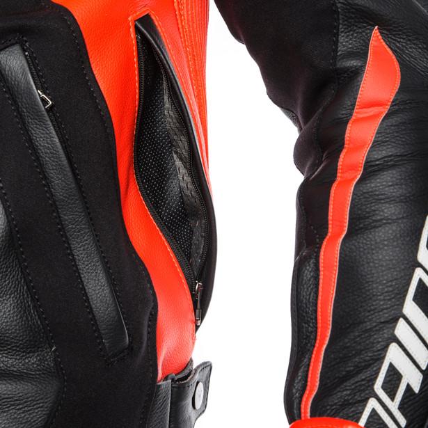 MUGELLO LEATHER JACKET BLACK/BLACK/FLUO-RED- Leather