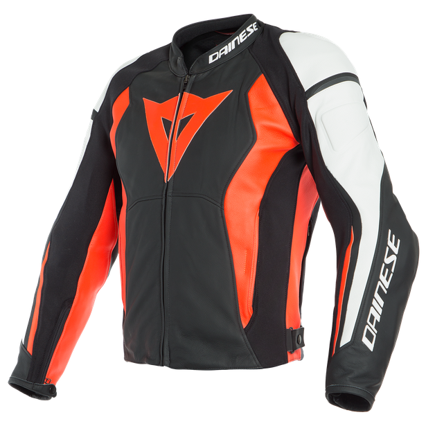 NEXUS LEATHER JACKET BLACK/FLUO-RED/WHITE- Leather
