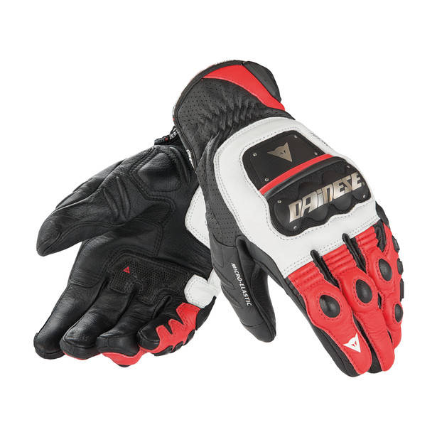 GUANTO 4 STROKE EVO WHITE/RED/BLACK- Leder