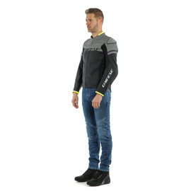AGILE LEATHER JACKET BLACKBLACK-MATT/CHARCOAL-GRAY/BLACK-MATT- Leather