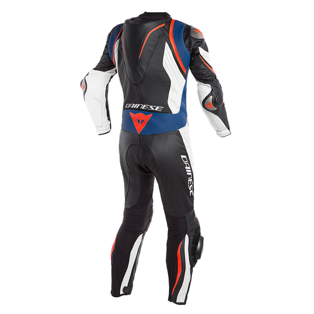 KYALAMI  1PC PERF. LEATHER SUIT BLACK/WHITE/BLUE- Professionali