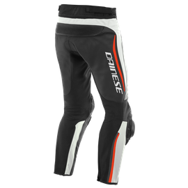 ALPHA PERF. LEATHER PANTS WHITE/BLACK/FLUO-RED- Leather
