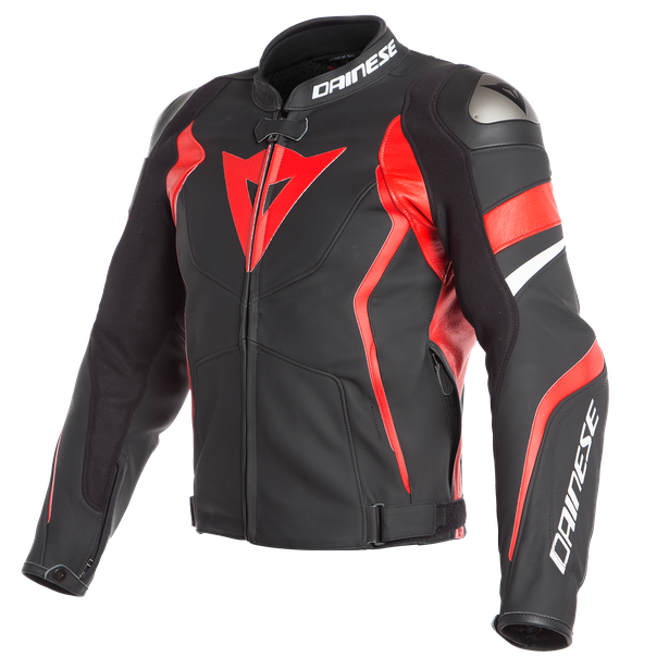 AVRO 4 LEATHER JACKET BLACK-MATT/LAVA-RED/WHITE- Leder