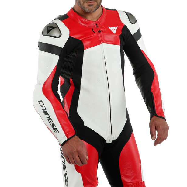 ASSEN 2 1 PC. PERF. LEATHER SUIT WHITE/LAVA-RED/BLACK- Professionali