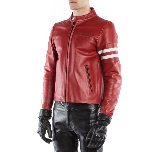 FRECCIA72 LEATHER JACKET RED/WHITE-S- Motorbike