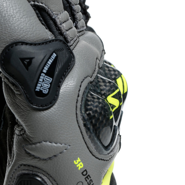 CARBON 3 SHORT GLOVES BLACK/CHARCOAL-GRAY/FLUO-YELLOW- Cuir