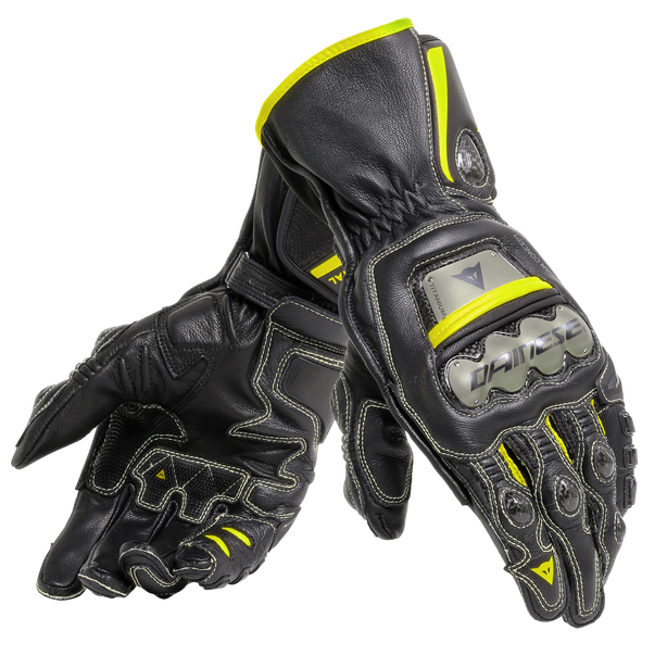 FULL METAL 6 GLOVES BLACK/BLACK/FLUO-YELLOW- Leather
