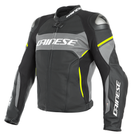 RACING 3 D-AIR PERF. LEATHER JACKET BLACK-MATT/CHARCOAL-GRAY/FLUO-YELLOW- D-air