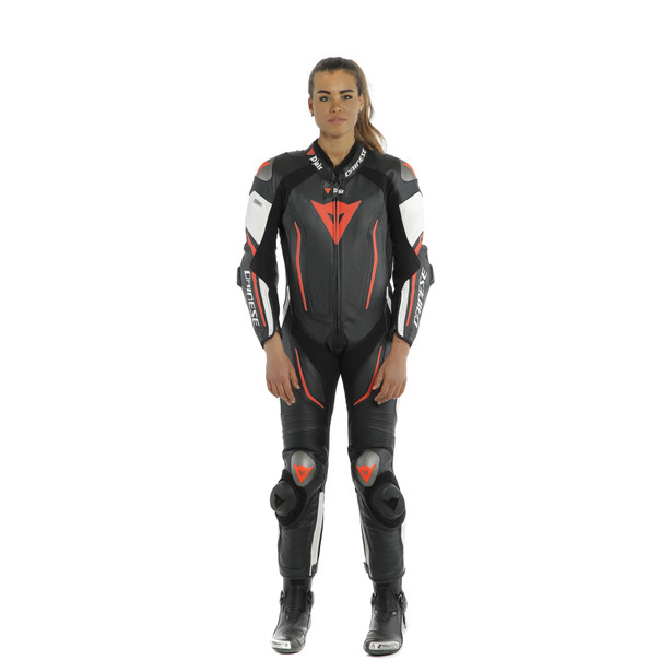 MISANO 2 LADY D-AIR PERF. 1PC SUIT BLACK/WHITE/FLUO-RED- Women Leather Suits