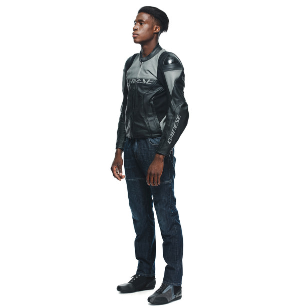 RACING 4 LEATHER JACKET PERF. BLACK/CHARCOAL-GRAY- Perforated Leather