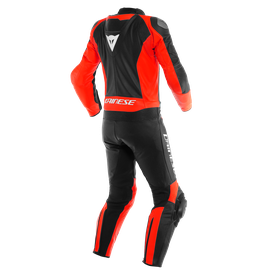 MISTEL 2PCS LEATHER SUIT BLACK-MATT/FLUO-RED/BLACK-MATT- Leather Suits