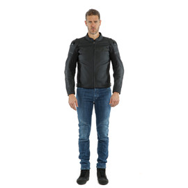 AGILE LEATHER JACKET BLACK-MATT/BLACK-MATT/BLACK-MATT- Leder