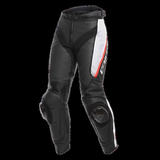 DELTA 3 PERF. LADY LEATHER PANTS BLACK/WHITE/RED- Leder