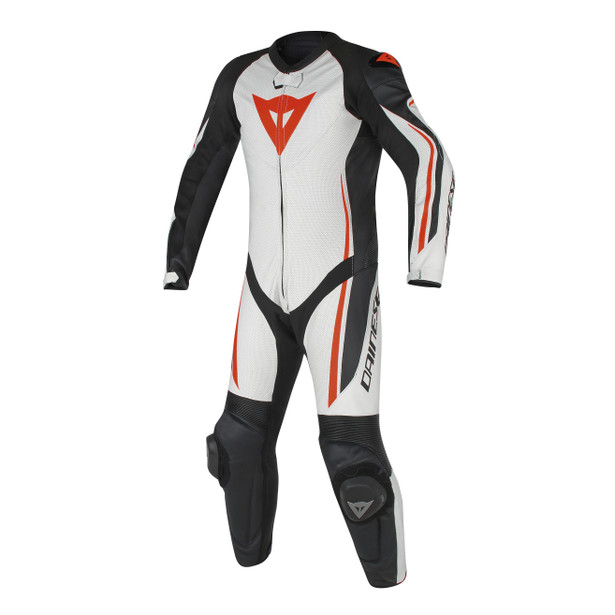 ASSEN 1 PC. PERF. SUIT WHITE/BLACK/RED-FLUO- Lederkombi