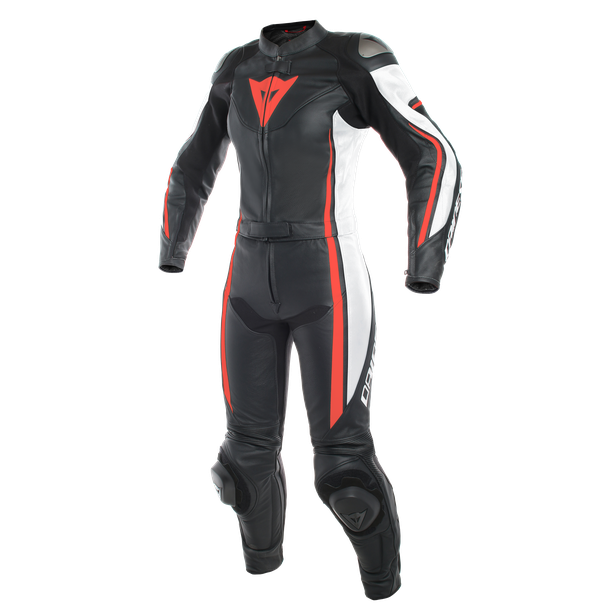 ASSEN 2 PCS LADY SUIT BLACK/WHITE/FLUO-RED- Zweiteiler