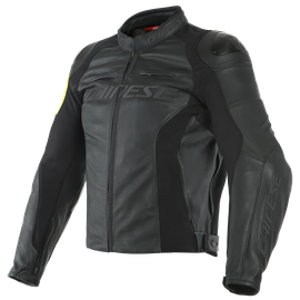 VR46 POLE POSITION LEATHER JACKET BLACK/FLUO-YELLOW