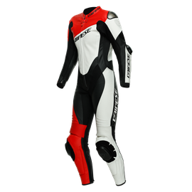 IMOLA LADY 1PC LEATHER SUIT PERF. BLACK/WHITE/LAVA-RED