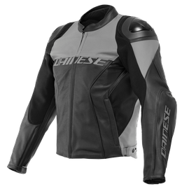 RACING 4 LEATHER JACKET PERF. BLACK/CHARCOAL-GRAY