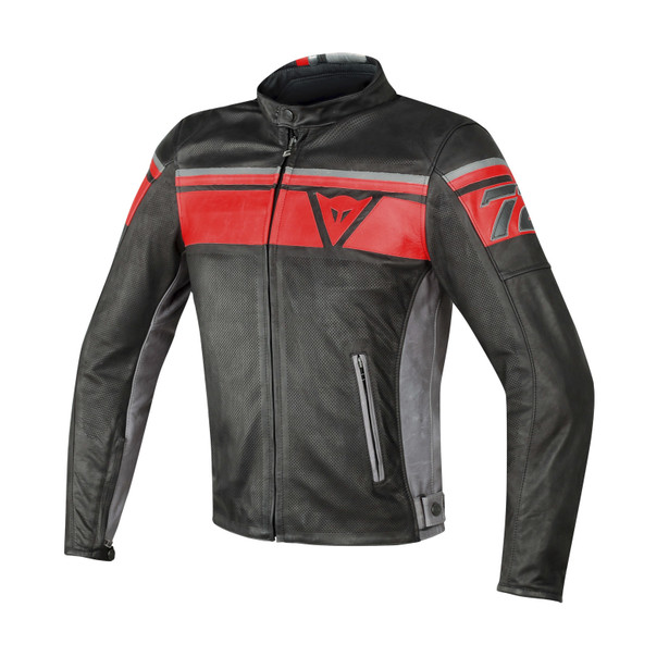 BLACKJACK PERFORATED LEATHER JKT BLACK/RED/SMOKE- Jackets