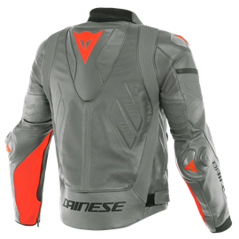 SUPER RACE PERF. LEATHER JACKET CHARCOAL-GRAY/CH.-GRAY/FLUO-RED- Jackets