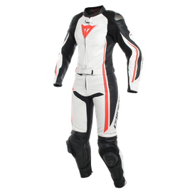 ASSEN 2 PCS LADY SUIT WHITE/BLACK/FLUO-RED