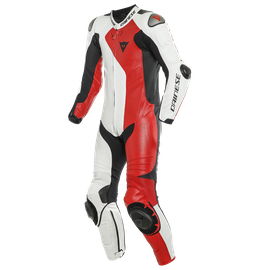 ADRIA 1PC LEATHER SUIT PERF. WHITE/LAVA-RED/BLACK