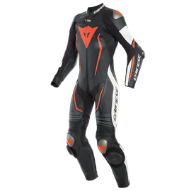 MISANO 2 LADY D-AIR PERF. 1PC SUIT BLACK/WHITE/FLUO-RED