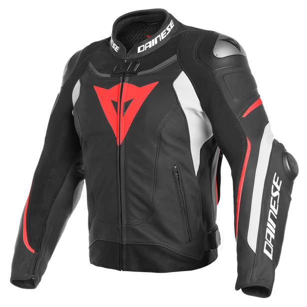SUPER SPEED 3 LEATHER JACKET BLACK/WHITE/FLUO-RED- Piel